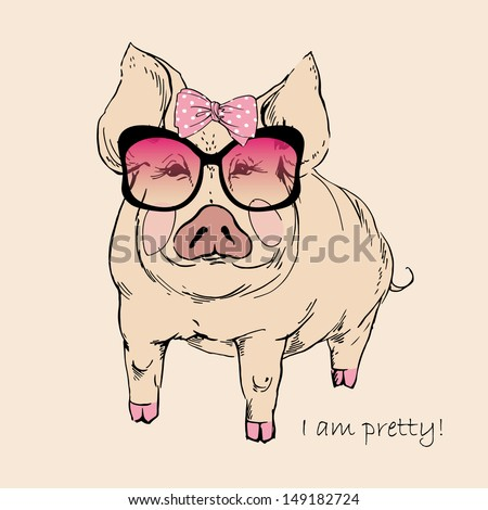 Cute Pig Logo Cute Pig in Pink Sunglasses