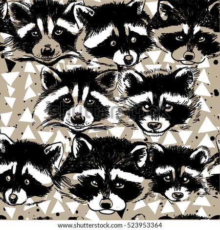 Cute Seamless Pattern With Raccoons Faces Masks Stylish Background Animals