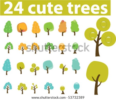 24 cute season trees. vector - stock vector