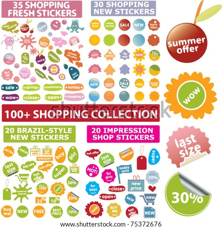 100 cute shopping signs, stickers, labels, vector