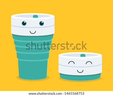 Cute smiling silicone foldable cup, reusable cup is a good for ecology. Environmental-friendly collapsible cup or foldable cup made from Silicone. Vector flat cartoon illustration character icon.
