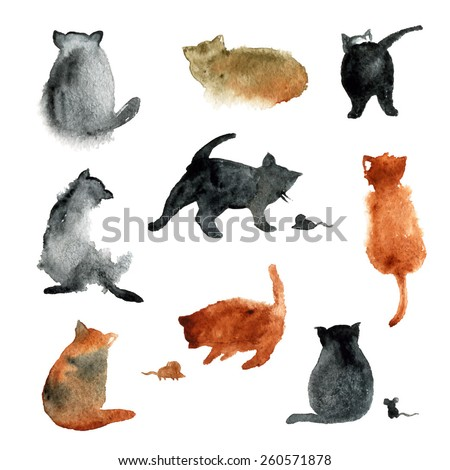 9 cute watercolor cats with