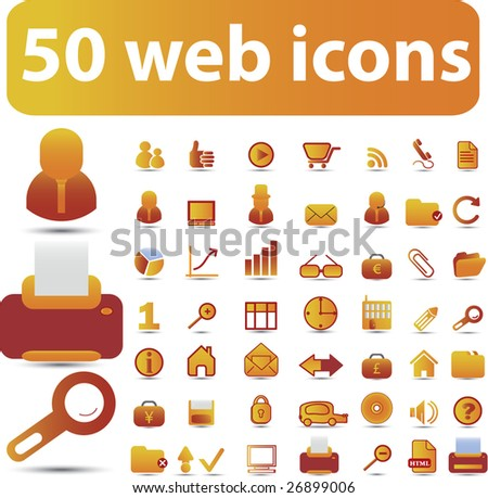50 cute web icons - vector set (easy edit) - vol. 25