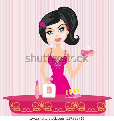 Cute woman applying moisturizer vector illustration