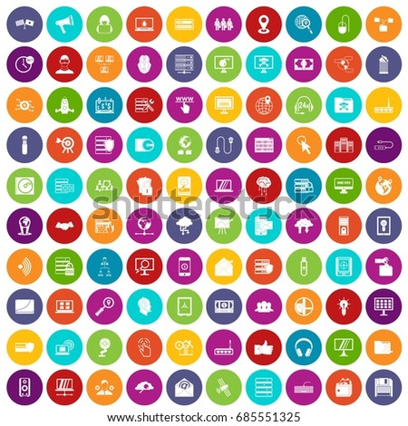 100 cyber security icons set in