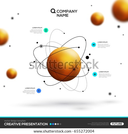 3D abstract background with gold sphere particles and atomic structure. Vector design layout template for business presentations, flyers, posters. Scientific future technology background.
