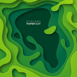 3D abstract background with green paper cut shapes. Vector design layout for business presentations, flyers, posters and invitations. Colorful carving art, environment and ecology element