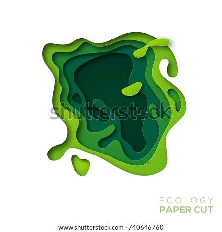3D abstract background with green paper cut shapes. Vector design layout for business presentations, flyers, posters and invitations. Colorful carving art, environment and ecology elements