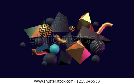 3D abstract black, gold and teal colored geometric shapes. Memphis inspired. Eps10 vector stock photo