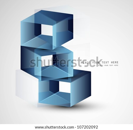 3d abstract blue colorful boxes Vector design