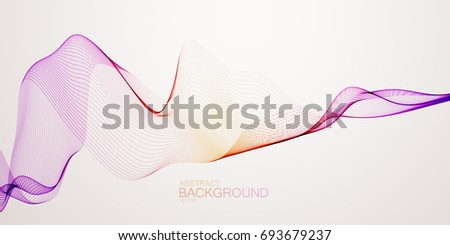 3D abstract colorful wireframe wave. Turbulent air flow. Creative vector illustration. Abstract background. Cover design template.