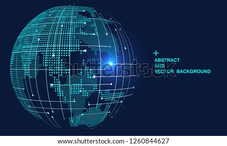 3D abstract concept world or earth, internationalization and globalization