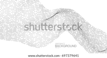 3D abstract digital stream of linear particles. Abstract vector illustration. Abstract background with dashed lines. Sound wave or signal transmission concept
