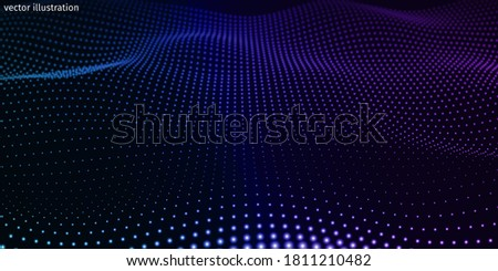 3d abstract digital technology background. Futuristic sci-fi user interface concept with gradient dots and lines. Big data, artificial intelligence, music hud. Blockchain and cryptocurrency. Vector Stock photo ©