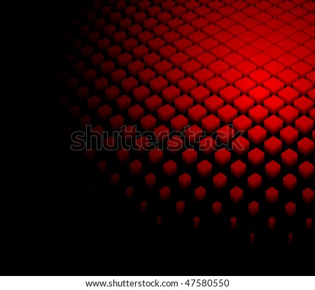 3d abstract dynamic red background on black