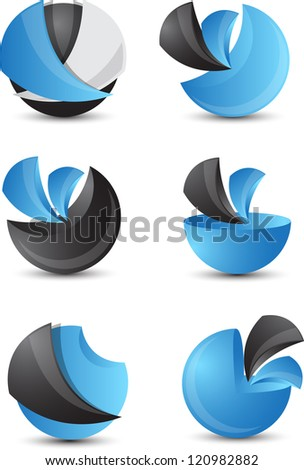 3d abstract icon set