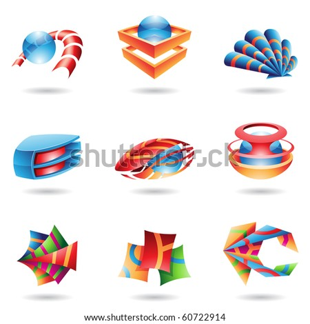 3D abstract icons in various colors