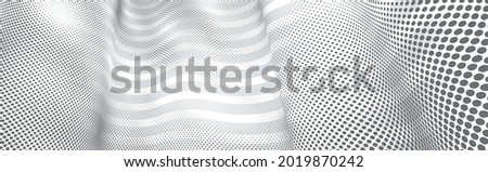 3D abstract monochrome background with dots texture and lines vector design, technology theme, dimensional dotted flow in perspective, big data, nanotechnology. Photo stock ©