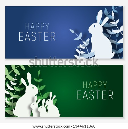 3d abstract paper cut banner of colorful rabbit family, grass, Happy easter greeting card template.