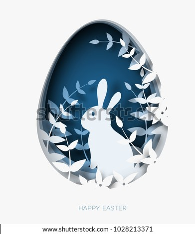 3d abstract paper cut illustration of colorful easter rabbit, grass, flowers and blue egg shape. Happy easter greeting card template.