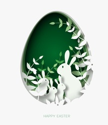 3d abstract paper cut illustration of colorful rabbit family, grass, flowers and green egg shape. Happy easter greeting card template.