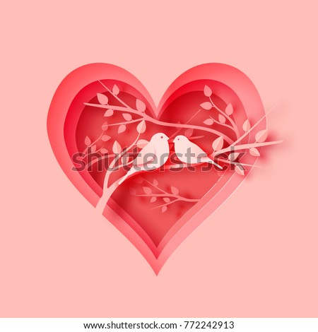 3d abstract paper cut illustration of pink heart shape with bird's couple on the tree. Vector colorful greeting card template in carving art style.