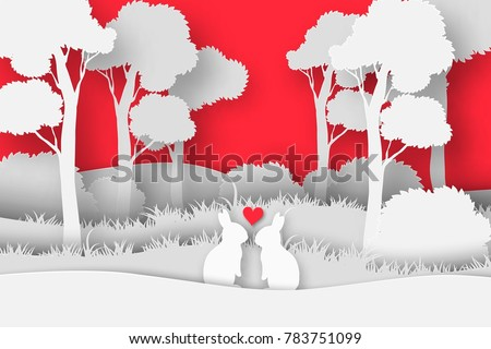 3d abstract paper cut illustration Valentine Day of rectangle shape with rabbit's couple in the forest. Vector colorful greeting card template in carving art style.