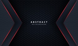 3d abstract red light hexagon line in grey modern luxury futuristic background vector illustration.
