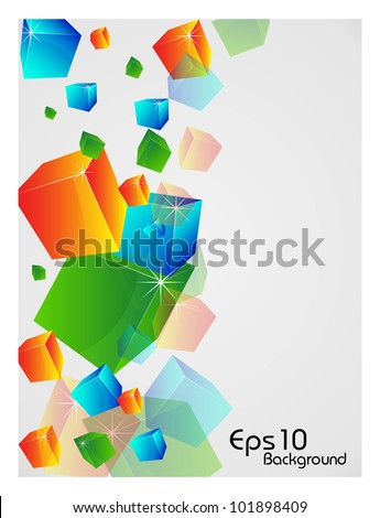 3D Abstract shapes background with colorful design for text project used and copy space, isolated on white. EPS 10, vector illustration.