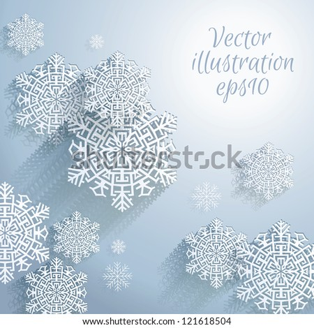 3D Abstract Snowflakes. Christmas background. Vector illustration eps 10