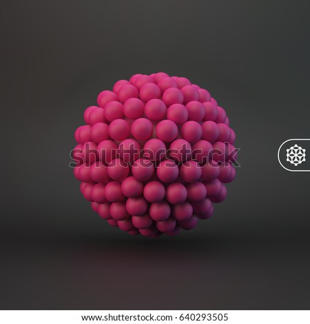 3d abstract spheres composition. Futuristic technology style. Vector illustration for design.