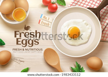 3d ad of fresh and nutritious brown eggs. Top view of frying pan and raw eggs on kitchen wooden table. Concept of frying an egg for healthy breakfast.