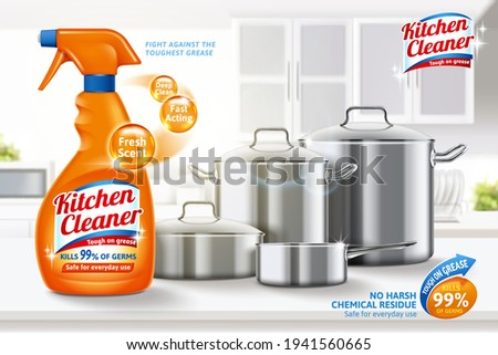 3d ad template for kitchen cleaner. Spray bottle mock up and clean metal utensils set on white blurry kitchen background.