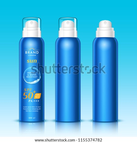 3d aerosol bottles for sunscreen or realistic spray for sunblock, dispenser for woman and man sunburn protection. Mousse container for skincare. Branding and packaging, advertising theme