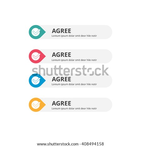 3d Agree Button set with icon. beautiful text button with icon. Orange Button, Blue Button, Red Button, Turquoise button. Call to action icon button. Flat Button Set. Vector Illustration