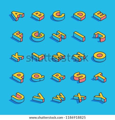 3D Alphabet Letters Vector Set