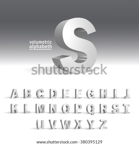 3D Alphabet template.Volumetric alphabet design - Shutterstock ID 380395129