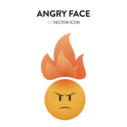 3d angry face and flame icon. Vector illustration of an angry face and burning flame overhead with trendy and bright color gragient. Emoticon anger sign with frown eyebrows and red forehead