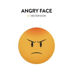 3d angry face icon. Vector illustration of an angry face with trendy and bright color gragient. Emoticon anger sign with frown eyebrows and red forehead