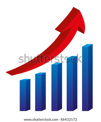 3d arrow and bar graph isolated over white background  vector