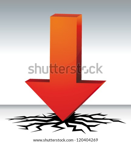 3D arrow crashing. Economy crisis concept or vector  low prices sales symbol.