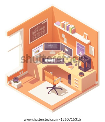 3d artist or CG artist home office or studio workspace. Vector isometric room cross-section with desk, 3d printer, desktop pc with multiple monitors, office chair, 3d printer filament spools