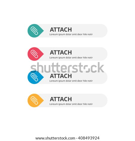 3d Attach Button set with icon. beautiful text button with icon. Orange Button, Blue Button, Red Button, Turquoise button. Call to action icon button. Flat Button Set. Vector Illustration