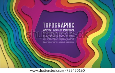 3D bacground .Paper art carving background. Paper cut shapes. Kids background design . 3d Terrain top wiev . Topografic map 3d landscape color background. Vector Illustration