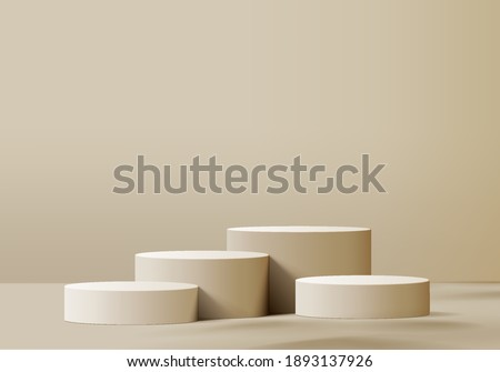 3d background cosmetic products podium scene with geometric platform. Beige background vector 3d rendering with podium. stand to show cosmetic products. Stage showcase on pedestal studio cream pastel