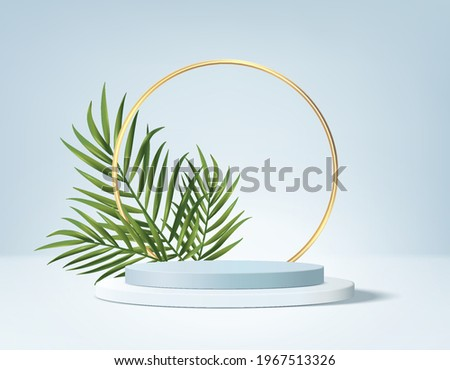 3d background product display podium scene with green leaf geometric platform. background vector 3d render with podium. stand to show cosmetic product. Stage showcase pedestal display 3d blue summer