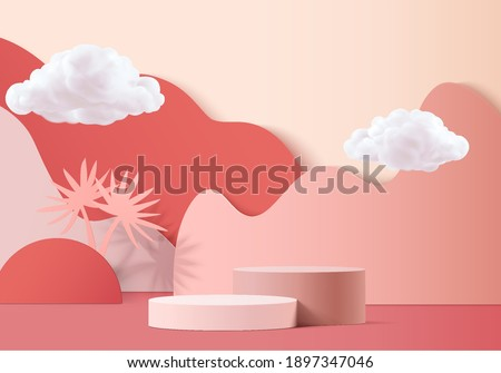 3d background product valentine podium in love platform. cloud background vector 3d rendering with cloud cylinder. podium stand to show cosmetic product. Stage romance showcase on pedestal red studio