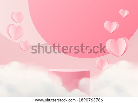 3d background product valentine podium in love platform. heart background vector 3d rendering with cloud cylinder. podium stand to show cosmetic product. Stage romance showcase on pedestal pink studio