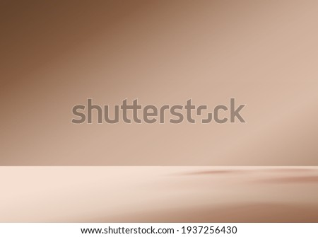 3d background products display brown scene with geometric platform. background vector 3d rendering with podium. stand to show cosmetic products. Stage showcase on pedestal display beige studio