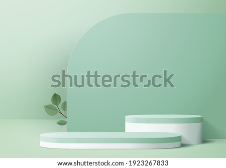 3d background products display green podium scene with platform. background vector 3d render with podium. stand to show cosmetic products. Stage showcase on pedestal display green background platform
